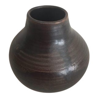 Boho Chic Mana Ceramics Black Pottery Bud-Vase For Sale