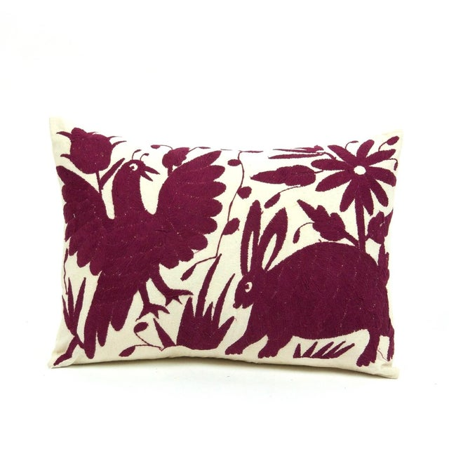 Otomi Embroidered Pillow in Wine - Image 2 of 4
