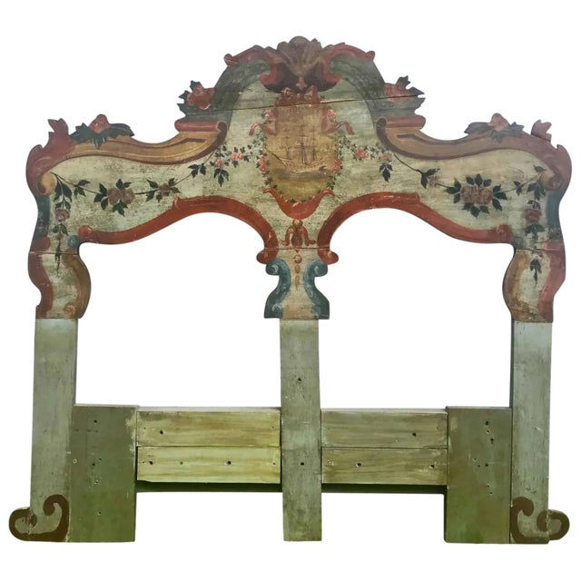 19th Century New England Hand Painted Wooden Headboard For Sale - Image 12 of 12