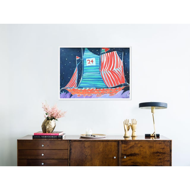 Contemporary SB Wax Cay by Lulu DK in White Framed Paper, Medium Art Print For Sale - Image 3 of 4