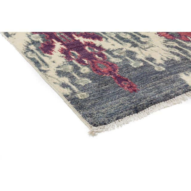 "Contemporary Ikat Hand Knotted Rug - 4' 7""x 7' - Image 2 of 3"