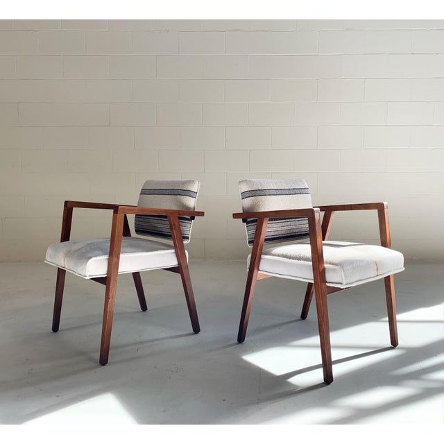 1950s Franco Albini for Knoll Model 48 Chairs in Calfskin and Isabel Marant Silk Wool For Sale - Image 5 of 9