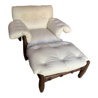 """1960s Vintage Sergio Rodrigues """"Mole"""" Lounge Armchair and Ottoman For Sale"""