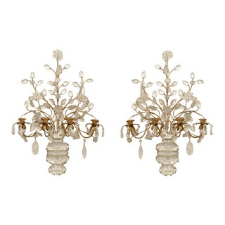 Pair of French Art Deco (Bagues) Gilt Metal and Rock Crystal 4 Arm Wall Sconces For Sale