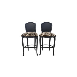 Leopard Baroque Louis XV Style Barstools - Pair For Sale