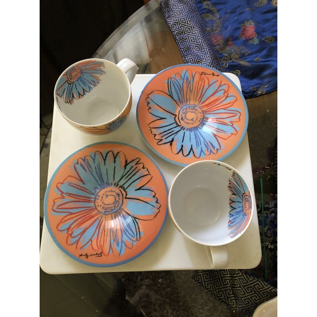 """Pair of Andy Warhol For Rosenthal Studio Line Tea Cups and Saucers Set (4 pieces total) with """"Daisy"""" Motif popularized and..."""