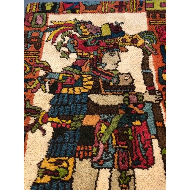 Mid Century Aztec Warrior Shag Rug For Sale - Image 11 of 12
