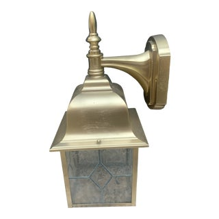 Vintage Brushed Brass Leaded Bubble Glass Outdoor Carriage Lamp For Sale