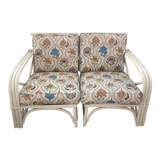 Vintage Mid-Century Paul Frankl Style Rattan Loveseat For Sale