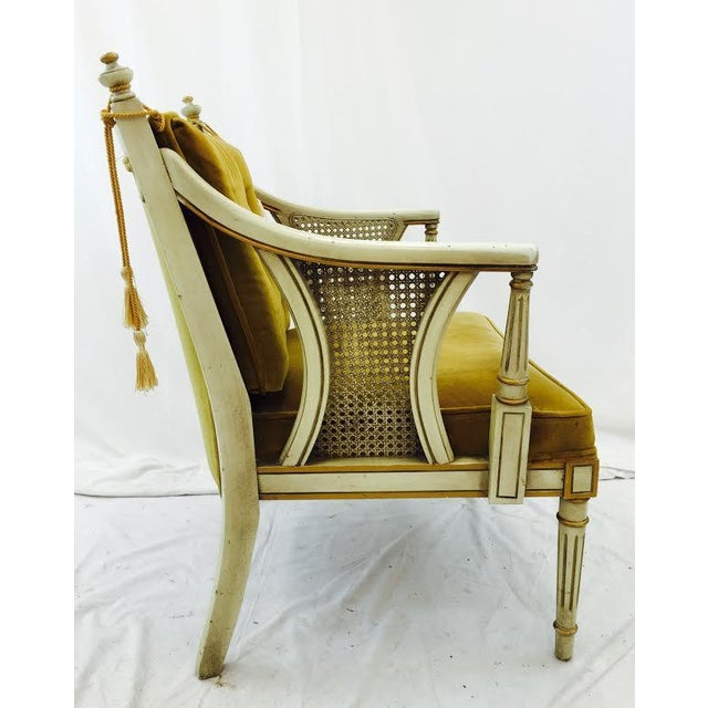 French-Style Gold Velvet & Cane Armchair - Image 6 of 11