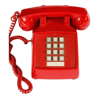 1980s Bright Red Hotline Push Button Telephone For Sale