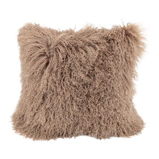 Tan Mongolian Sheepskin Pillow by Tasha Tarno For Sale