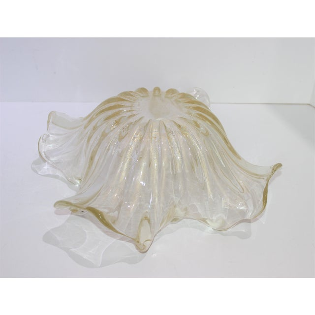 Murano Glass Ribbon Free Form Vase Bowl Infused Gold Flecks by Barovier Et Toso For Sale In West Palm - Image 6 of 9