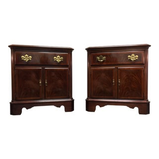 Drexel Heritage Chippendale Flame Mahogany Nighstands / Bedside Chests - Pair