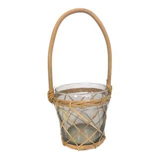 Vintage Boho Rattan Glass Basket With Bent Wood Handle For Sale