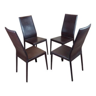 Cattelan Italia Side Chairs W/Faux Croco Leather - Set of 4 For Sale