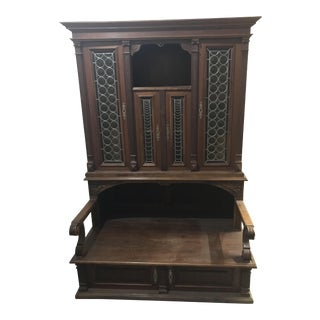 20th Century Traditional Hand Carved Entryway Hutch