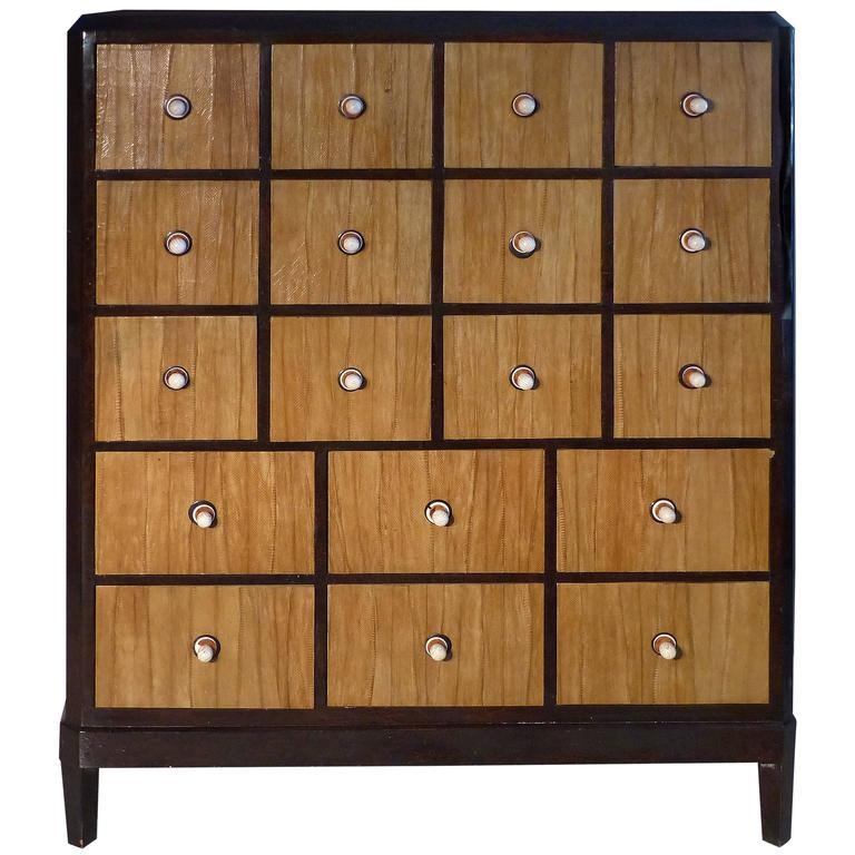 French Macassar Art Deco Cabinet With Cobra Skin Drawers And Bone Handles    Image 11 Of