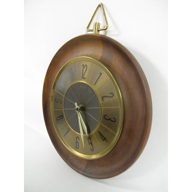Brown 1960s Mid Century Modern Elgin Wall Clock For Sale - Image 8 of 11