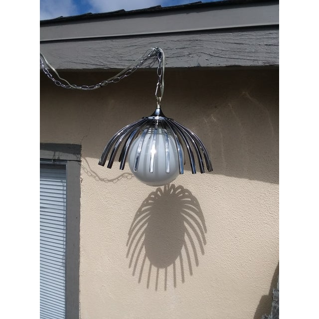 1970s Custom Mid-Century Pendant Available With Large Globe (As Seen or Smaller Globe For Sale - Image 5 of 9