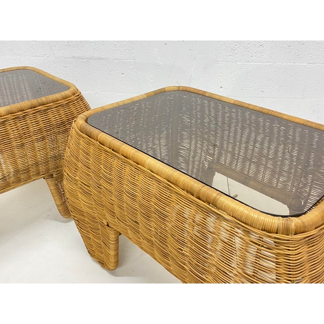 Mid-Century Modern Hand Made Sculptural Wicker Rattan Side Tables - a Pair For Sale - Image 9 of 13