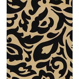 """Contemporary Lee Jofa Felicity Noir Champagne With Black Appliques - 2.42 Yds + (7) 24"""" Rems For Sale"""