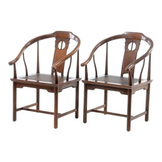 1980s Chinese Horseshoe Style Arm Chairs - a Pair For Sale