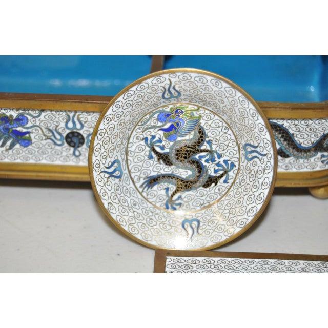 Blue & White Cloisonne Enameled Desk Set - Image 5 of 11