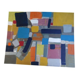 1960s Abstract Acrylic Painting on Paper by Jae Carmichael For Sale