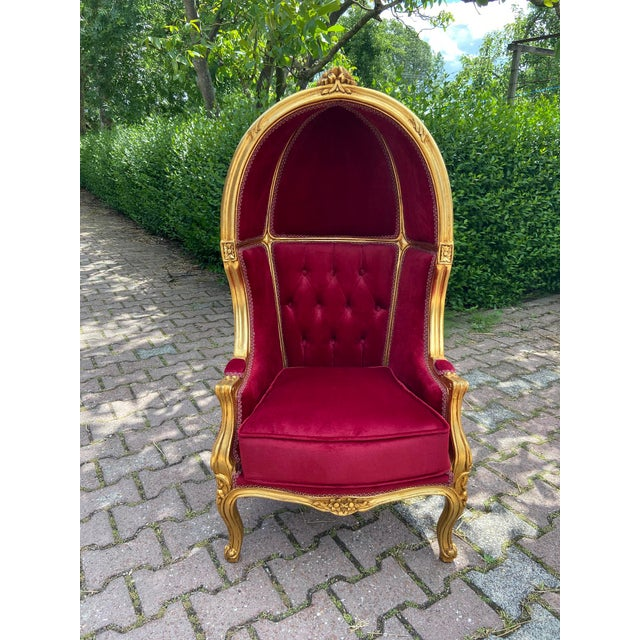French Dark Red Tufted Throne Children Size Balloon Chair. For Sale - Image 9 of 10