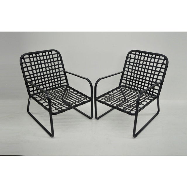 Pair of Brown Jordan Lido Aluminum Vinyl Strap Patio Pool Lounge Chairs Black A - Image 4 of 11
