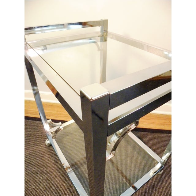 Mid-Century Chrome & Glass Bar Cart - Image 7 of 8