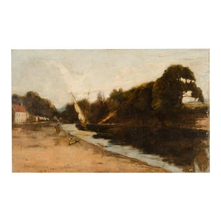 """Late 19th Century """"On the Canal"""" Coastal Oil Painting For Sale"""