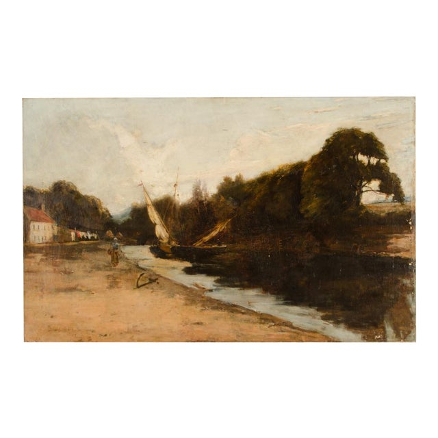 "Late 19th Century ""On the Canal"" Coastal Oil Painting For Sale"
