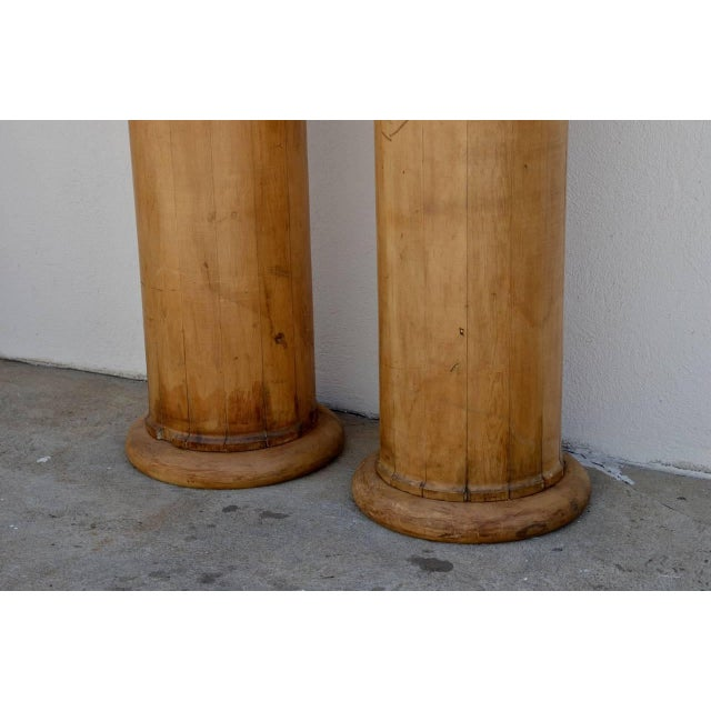 Neoclassical 1930s Elegant Tall Fluted Decorative Pine Columns - a Pair For Sale - Image 3 of 7