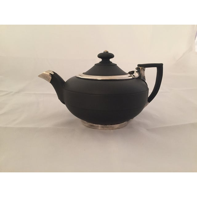 Wedgwood Sterling Silver & Black Basalt Teapot - Image 2 of 7