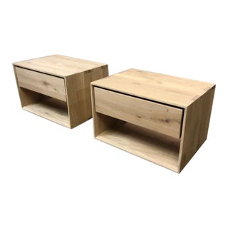Nordic Oak Nightstands - A Pair
