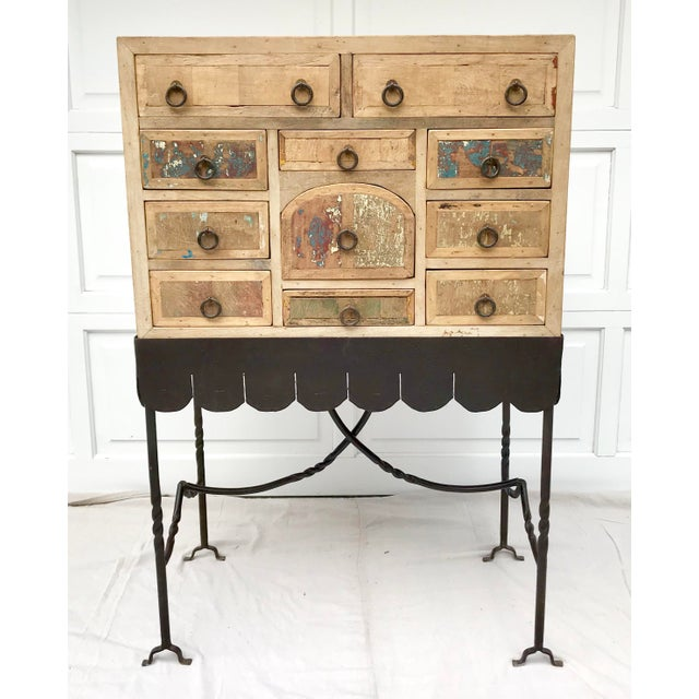 Metal Folk Art Arte De Mexico Cabinet With Custom Iron Stand For Sale - Image 7 of 7