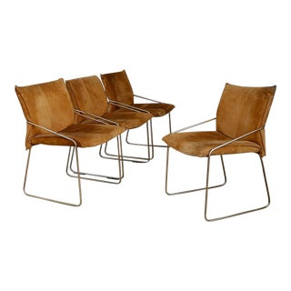 Set of Four Chairs by Willy Rizzo in Brass and Chamois Beige From the 1970s For Sale