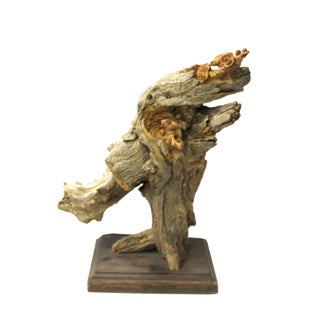 Chinese Cypress Raw Wood Carved Abstract Birds Theme Display Figure