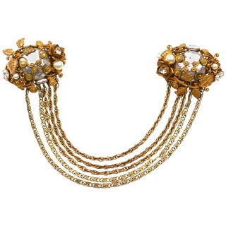 Miriam Haskell Oversized Chain Brooch For Sale