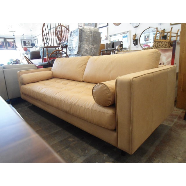 Leather Sofas For Sale In Northern Ireland: Full Grain Tufted Tan Leather Sofa W/ 2 Bolster Pillows