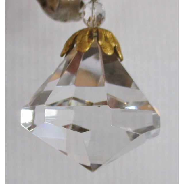 French 1970s Maison Bagues Style Crystal and Iron Gold and Silver Leaf Lantern Chandelier For Sale - Image 3 of 10