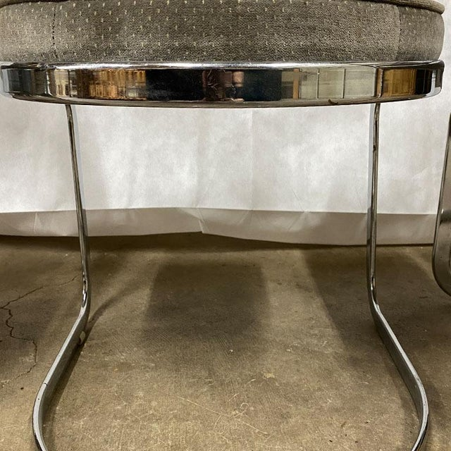 Bauhaus Mid Century Modern Milo Baughman Style Chrome Cantilever Upholstered Chairs- Set of 3 For Sale - Image 3 of 5