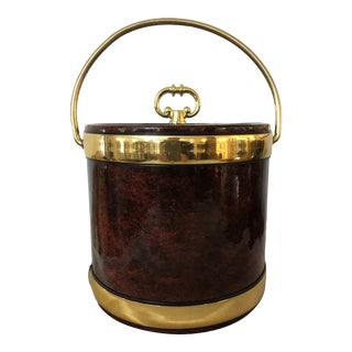 Kraftware Mid-Century Faux Leather Ice Bucket For Sale