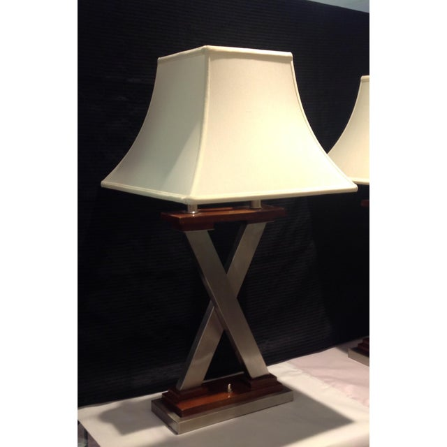 """Art Deco Mid-Century Modern """"X"""" Table Lamps - a Pair For Sale - Image 3 of 4"""