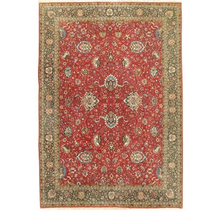 """Vintage Red Tabriz Hand Woven Rug 8'2"""" X 11'6"""" For Sale"""