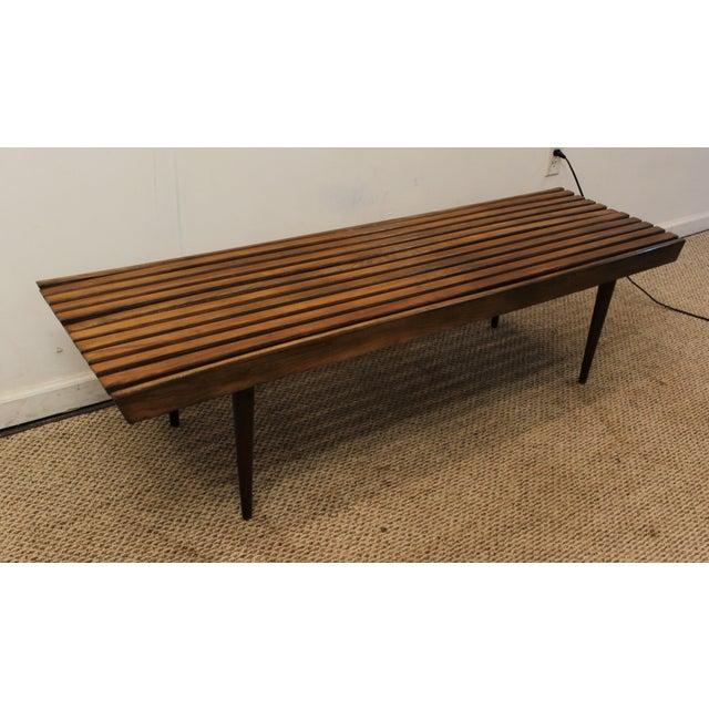 Mid-Century Danish Modern Walnut Slat Bench Coffee Table - Image 2 of 10