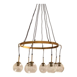 Modern Aged Brass Finished Glass Globe Chandelier For Sale