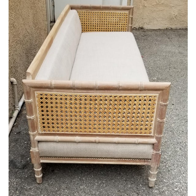 Asian Refinished 1970's Bamboo Cane Sofa/Daybed With Belgium Linen For Sale - Image 3 of 5
